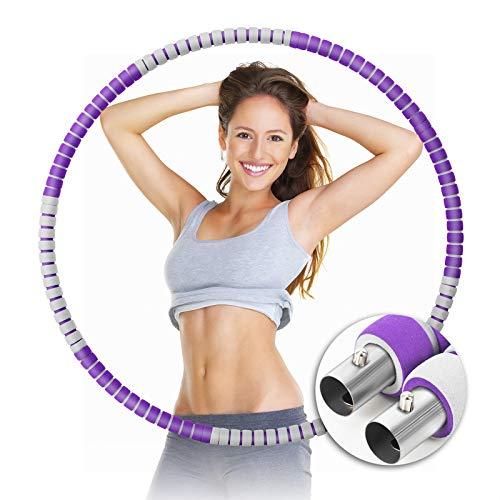 ORHOMELIFE Fitness Reifen Hoop für Erwachsene & Kinder, Gewichteter Reifen zur Gewichtsabnahme & Massage, 6-8 Abnehmbare Abschnitte Fitnessreifen mit Schaumstoff für Bauchformung/Sport/Zuhause/Büro