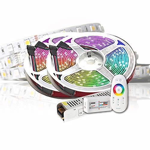 10M PREMIUM 24V RGB+WW RGBW LED Streifen LED Band LED Strip 5050 SMD RGB+Warmweiss LED Lichtleiste 600LEDs 60LED's/M+controll mit RF TOUCH Fernbedienung +24v 8,33A 200W Netzteil ULTRA SLIM TRAFO