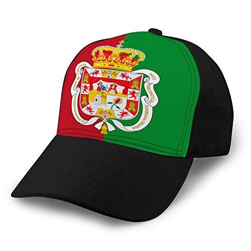 Holefg3b Gewaschene gefärbte Hüte Baseballmützen Verstellbare Flagge Granada City in Andalusien Spanien Männer Frauen Hut