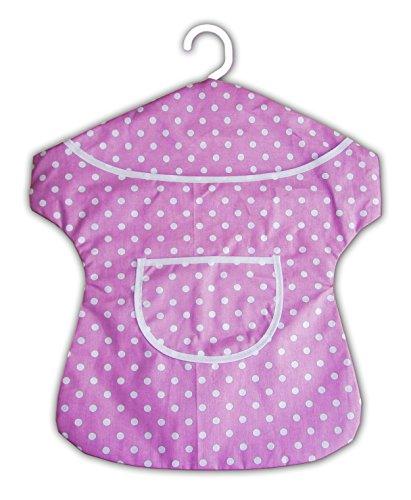 Eco WÄSCHEKLAMMERKLEID mit Bügel Wäscheklammerbeutel Klammerkleid Klammerbeutel 26 (Violett Punkte)