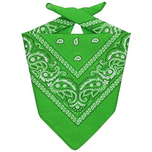 Lipodo Bandana Tuch Damen/Herren/Kinder - Kopftuch in grün aus 100% Baumwolle - Multifunktionstuch in Einheitsgröße (55 x 55 cm) - vielfältige Tragemöglichkeiten