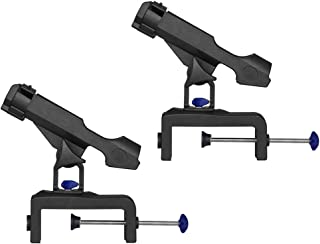Perfk 2pcs Universal Boat Raft Fishing Rod Holder(Clamp On 1-3/4 inch), Pole Stand Bracket Rest, 360 Degree Adjustable