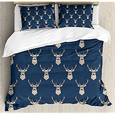 Ambesonne Deer Duvet Cover Set Queen Size, Hipster Inspired Deer with Antlers Glasses Mustaches Funny Animal Pattern Vintage, Decorative 3 Piece Bedding Set with 2 Pillow Shams, Slate Blue Tan
