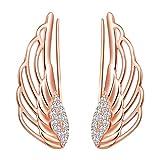 Yumilok Boucles d'oreilles ailes d'ange pour femme fille, en 925 argent plaqué platine, Clip d'oreille zircon, Boucles d'oreilles grimpantes, Cadeau de Noël anniversaire