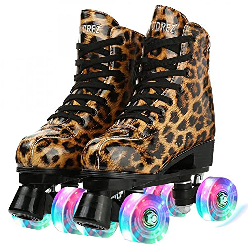 Women\'s Roller Skates Shoes, High-top Shiny Roller Skate PU Leather Rolling Skates for Adults Four-Wheel Double Row (Leopard brown flash wheel,44)