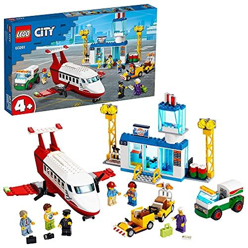 LEGO 60261 City L'aéroport Central, Jouet Educatif Avion et Camion avec 6 Mini-Figurines pour Enfants de 4 et Plus