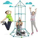 SM SunniMix Kit de construcción Fort para niños, túnel de castillo para jugar tienda de campaña, juguetes para constructor de bricolaje con bielas y esferas multilink 87 piezas