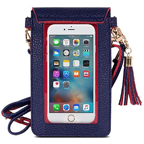 MoKo Touchscreen Handy Tasche Hülle - 2-in-1 PU Leder wasserdichte Handtasche Schultertasche mit Straps für iPhone 11 Pro/11/Xs Max/XR/Xs, Galaxy S10e/S10/S10 Plus, Marineblau/Rot