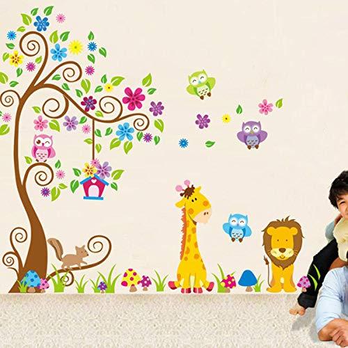 Kinderkamer sticker wallpaper, cartoon schattige giraf leeuw dier groot boom applicatie DIY vinyl muur decals schillen en stick afneembare muur stickers voor kinderen kinderkamer slaapkamer
