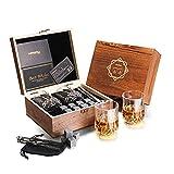 Baban Verres à Whisky Set - Amende Coffret Cadeau Bois, avec 2X Verres à Whisky, 8X Granit Pierres à Whisky, Sac en Velours et Pince, Offrez - Cadeau pour Hommes