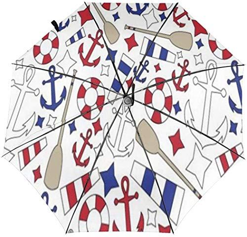 Paraguas de tres pliegues automáticos de patrón náutico con impresión interior