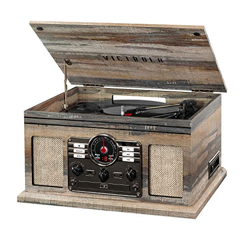 Victrola Nostalgic 6-in-1 Bluetooth Record Player & Multimedia Center with Built-in Speakers - 3-Speed Turntable, CD & Cassette Player, AM/FM Radio   Wireless Music Streaming   Farmhouse Shiplap Grey