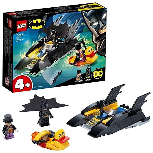 Super Heroes DC C Batman 4+ Caza del Pingüino en la Batlancha Barco de Juguete para Niños, multicolor (Lego ES 76158)