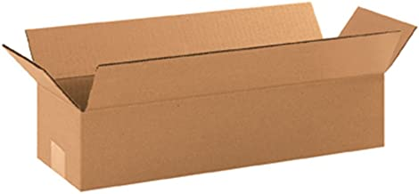 """Aviditi 1864 Long Corrugated Cardboard Box 18"""" L x 6"""" W x 4"""" H, Kraft, for Shipping, Packing and Moving (Pack of 25)"""