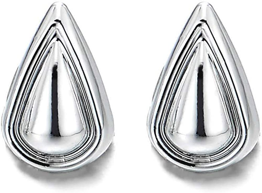 Womens Small Magnetic Teardrop Stud Earring, Non-Piercing Clip On Fake Ear, Polished