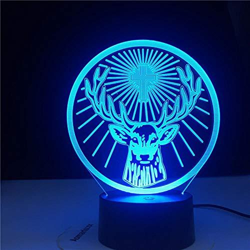 Lámpara led 3d luz nocturna Jagermeister Adecuado para la familia de los niños y amigos cumpleaños Regalos de San Valentín- toque