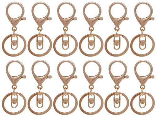 12 PCS KC Gold Larger Lobster Clasps with Keychain Rings+Swivel Clasps, Metal Key Clip for DIY Craft Jewelry Making 0165