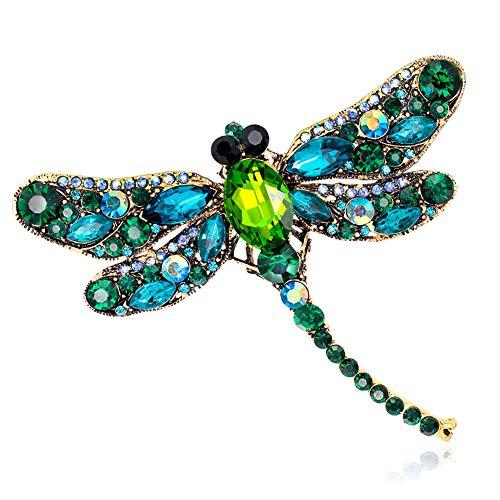 Gcroet 1pc Elegante joyería Broche de la libélula de Color Diamantes de imitación de la libélula Breastpin Pin Mujer Pañuelos de Accesorios Broche de la Mujer, Verde