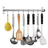 Kitchen Utensil Rack,Wall Mounted Hanger,Space Saver Stainless Steel Rack Rail Storage Organizer Kitchen Tools for Hanging Knives, Spoon,Pot and Pan with 8 Removable S Hooks, 20 inches (50CM 8 Hooks)