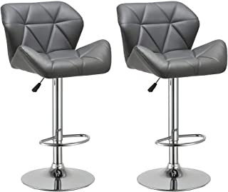 Duhome Set of 2 Modern Contemporary Synthetic Leather Bar Stools Kitchen Counter Bar Chairs (Grey)