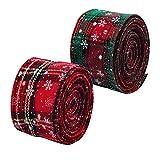 2 rollos 5yd Cinta de Navidad con Borde de Alambre Arpillera a cuadros Cinta Cinta de envoltura navideña Cinta de tartán con borde Cinta de copo de nieve verde rojo Cintas para manualidades 6.3cm