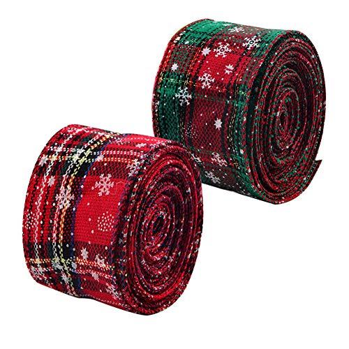 2 rollos 6m Cinta de Navidad con Borde de Alambre Arpillera a cuadros Cinta Cinta de envoltura navideña Cinta de tartán con borde Cinta de copo de nieve verde rojo Cintas para manualidades 6.3cm