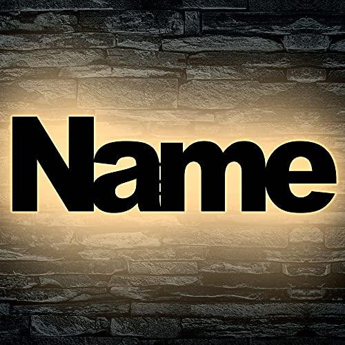 Led Wand Holz Nachtlicht Kinder Lampe aus Wunsch Namen als Taufgeschenk Baby [Energieklasse A]