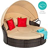Best Choice Products 5-Piece Outdoor Modular Patio Wicker Daybed Sectional w/Adjustable Seats, Retractable Canopy, Cover