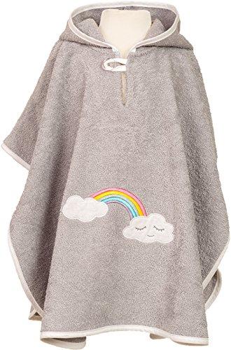 Smithy, hoogwaardige badstof - badkamer - poncho van 100% katoen, kleur grijs, motief wolk, regenboog, afmetingen ca. 1 tot 3 jaar.
