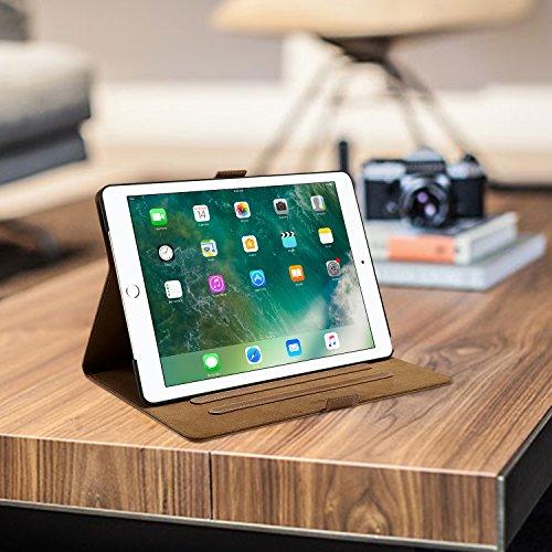 ProCase Echtes Leder Hülle für iPad Air (3rd Gen) 10.5 2019 /iPad Pro 10.5 2017, Kickstand Klapphülle Lederhülle -Braun