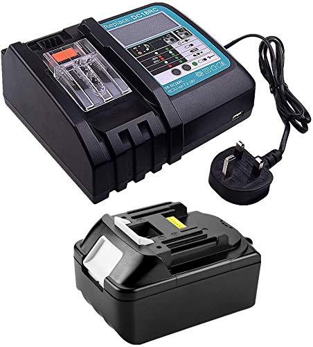 18V 5.0Ah BL1850 Akku mit 3A LCD Ladegerät DC18RC kompatibel mit Makita Akku-Rasentrimmer DUR181Z DUR182LZ DUR365UZ DMR110