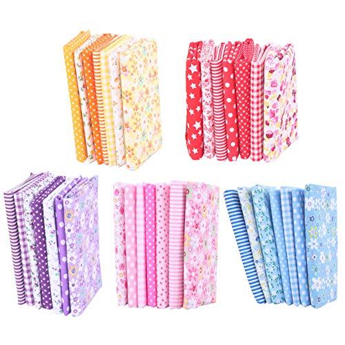 Conjunto de 35 peças de tecido de algodão floral estampado com patchwork quadrado para artesanato de retalhos, material de costura, scrapbook, Batik para calças de vestido DIY (5 cores) da Pretyzoom