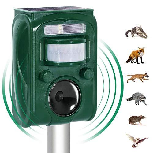 Outdoor Solar Ultrasonic Animal Repeller, with Motion Sensor and Flash Intimidationcat ,Dog, Raccoon, Rabbit, Squirrel, Fox, Birds, Skunks, etc Protect The Farm Garden Yard