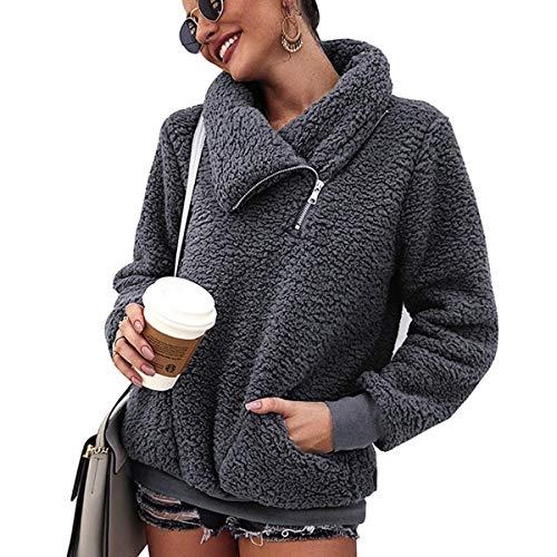 LIVACASA Sweatshirt Damen Winter Warm Hoodie Weich Mädchen Oversized Teddy Fleece Pullover Flauschig Winterpullover Sweater Langarm Pulli mit 2 Tasche Grau S