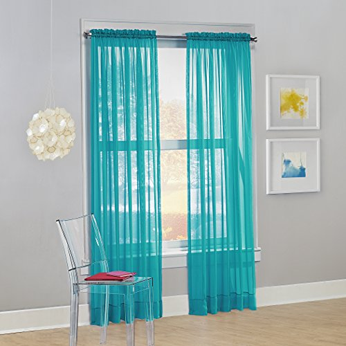 "No. 918 Calypso Sheer Voile Rod Pocket Curtain Panel, 59"" x 63"", Sky Blue (One Panel)"