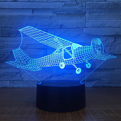 3D led Nacht Licht Oude Stijl Glider Vliegtuig 7 Kleur Afstandsbediening Touch Slaapkamer lamp Home Decoratie, Children's Kerstcadeau