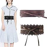Jurxy 2 Paquetes Bowknot De Las Mujeres Cinturón Ancho de Encaje con cinturón Cinturón de Lazo para Mujer Cuero sintético Estilo OBI Cinturones Boho Corset - café