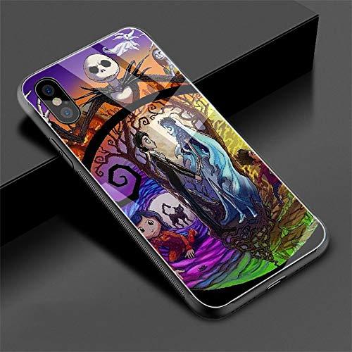 Tim Burton's Corpse Bride - Carcasa de cristal templado para iPhone Xs Max XR X 8 7 6 6S Plus, TPU, G6., for iPhone X XS
