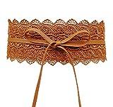 COMVIP Mujeres Boho del Bowknot del cordón del corsé de cintura ancha banda del vestido del abrigo Cinturones Longitud: 201cm, Ancho: 10 cm style1 Camel