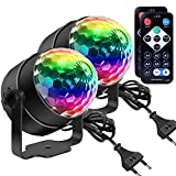 Discokugel, Disco Lights LED Party Lampe Musikgesteuert Disco Lichteffekte DJ Party lichter 360° Rotierende Ball Lights 3W RGB Bühnenlichter mit Fernbedienung für Home Geburtstag KTV Weihnachten 2