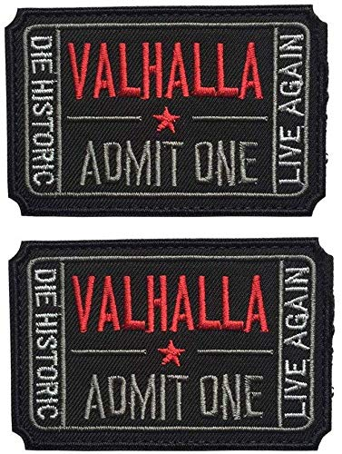 Ticket to Valhalla Admit One Vikings Mad Max 3D Embroidery/Rubber Tactical Badge Patches (Black)