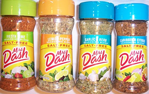Mrs. Dash Seasoning Blends Variety Flavor 4 Pack 2.5 oz - Caribbean Citrus - Garlic & Herb - Fiesta Lime - Lemon Pepper