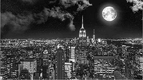 djjinhao - 1000 Piezas Puzzle - Escena Nocturna de la Ciudad en Blanco y Negro - Rompecabezas para niños Adultos Juego Creativo Rompecabezas Navidad decoración del hogar Regalo