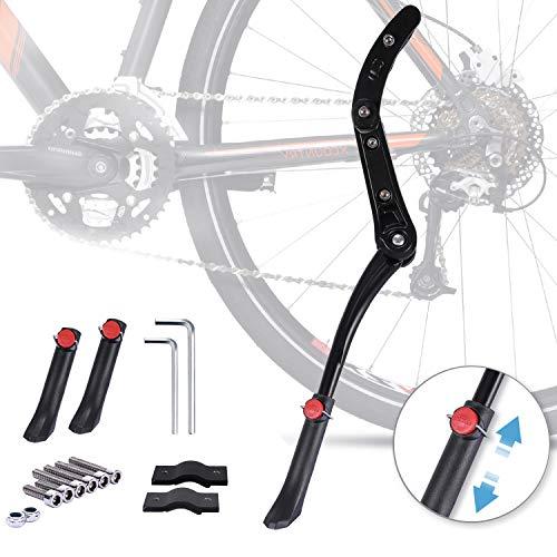 Gifort Cavalletto Bicicletta, Cavalletto Laterale per Bici Regolabile Lega di Alluminio in Altezza con Piede in Gomma Antiscivolo per Mountain Bike con Ruote da 24-29 Pollici