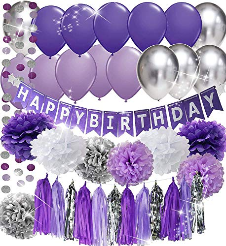 Purple Birthday Party Decorations/Selena Party Decorations Purple White Silver Tissue Pom Pom Happy Birthday Banner Purple Silver Latex Balloons Circle Paper Garland for Purple Birthday Decorations