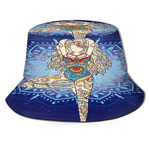 fudin Sombrero de Pescador Unisex Ornamento Hermosa Tarjeta Vector Yoga Geométrica Plegable De Sol/UV Gorra Protección para Playa Viaje Senderismo Camping