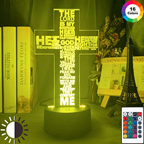 3D 7 Farbwechsel LED Nachtlicht Halloween Die Heilige Bibel Psalm Gedicht Christliches Kreuz Nachtlicht Kirche Dekor Geschenk Christen