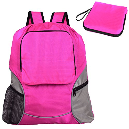 Teamoy Foldable Sackcpack Drawstring Backpack Gym Bag with Straps, Pockets, Reflective Tapes, Pink