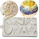 Bongles Silikon-Form-schokoladen-Fondant-Form DIY-Party Kuchen, Die Werkzeuge 3D Seepferd Shell Starfish-Form