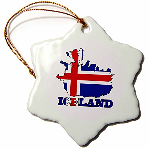 3dRose orn_63163_1 The Flag of Iceland in The Outline Map of The Country and Name Iceland Snowflake Decorative Hanging Ornament, Porcelain, 3-Inch